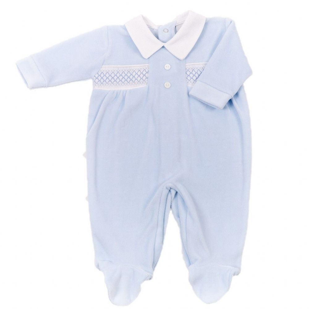 AV2409 Button Smocked Velour Sleepsuit